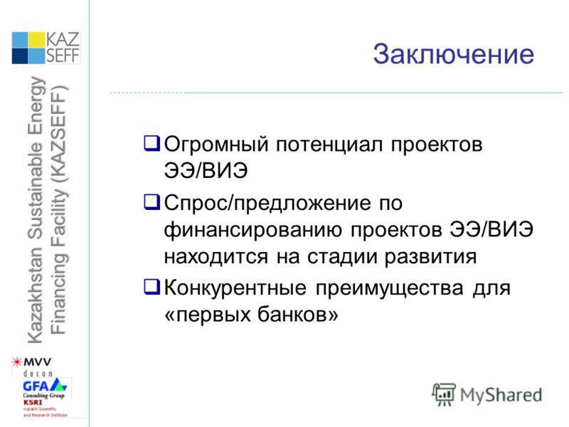 Kazakhstan Sustainable Energy Financing Facility (KAZSEFF) Заключение Огромный потенциал проектов ЭЭ/ВИЭ Спрос/предложение по финансированию проектов ЭЭ/ВИЭ находится на стадии развития Конкурентные преимущества для «первых банков»