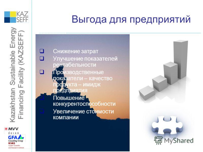 Kazakhstan Sustainable Energy Financing Facility (KAZSEFF) Выгода для предприятий Снижение затрат Улучшение показателей рентабельности Производственные показатели – качество продукта – имидж предприятия Повышение конкурентоспособности Увеличение стои