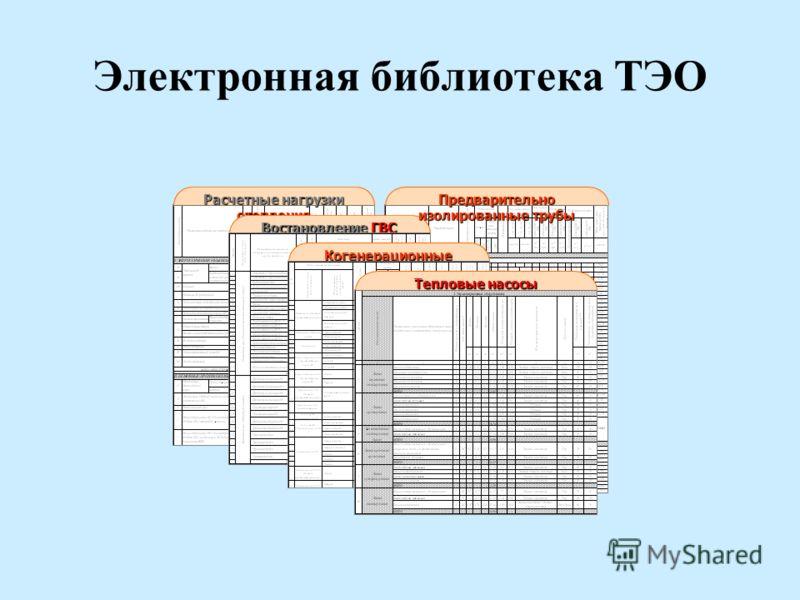 Электронная библиотека ТЭО Расчетные нагрузки отопления Востановление ГВС Когенерационные установки Предварительно изолированные трубы Тепловые насосы