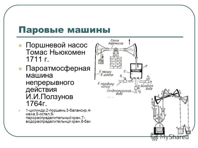 Паровые машины Поршневой насос Томас Ньюкомен 1711 г. Пароатмосферная машина непрерывного действия И.И.Ползунов 1764г. 1-цилиндр,2-поршень,3-балансир,4- меха,5-котел,6- парораспределительный кран,7- водораспределительнцй кран,8-бак