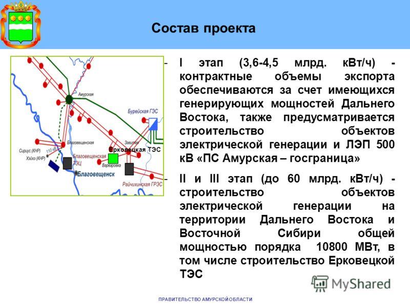 Состав проекта -I этап (3,6-4,5 млрд. кВт/ч) - контрактные объемы экспорта обеспечиваются за счет имеющихся генерирующих мощностей Дальнего Востока, также предусматривается строительство объектов электрической генерации и ЛЭП 500 кВ «ПС Амурская – го