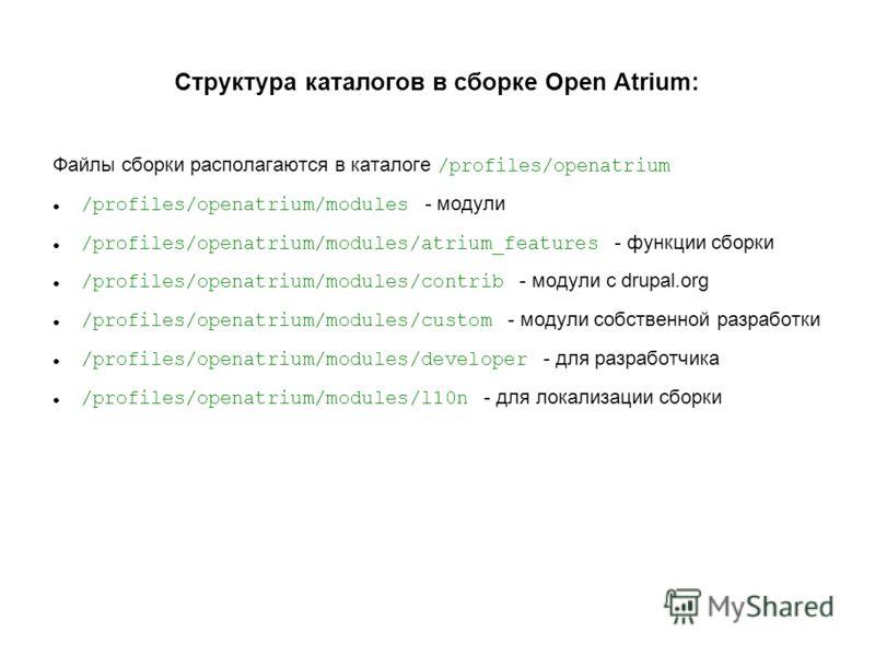Структура каталогов в сборке Open Atrium: Файлы сборки располагаются в каталоге /profiles/openatrium /profiles/openatrium/modules - модули /profiles/openatrium/modules/atrium_features - функции сборки /profiles/openatrium/modules/contrib - модули с d