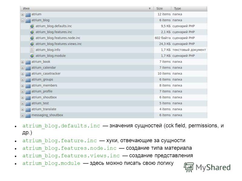 atrium_blog.defaults.inc значения сущностей (cck field, permissions, и др.) atrium_blog.feature.inc хуки, отвечающие за сущности atrium_blog.features.node.inc создание типа материала atrium_blog.features.views.inc создание представления atrium_blog.m