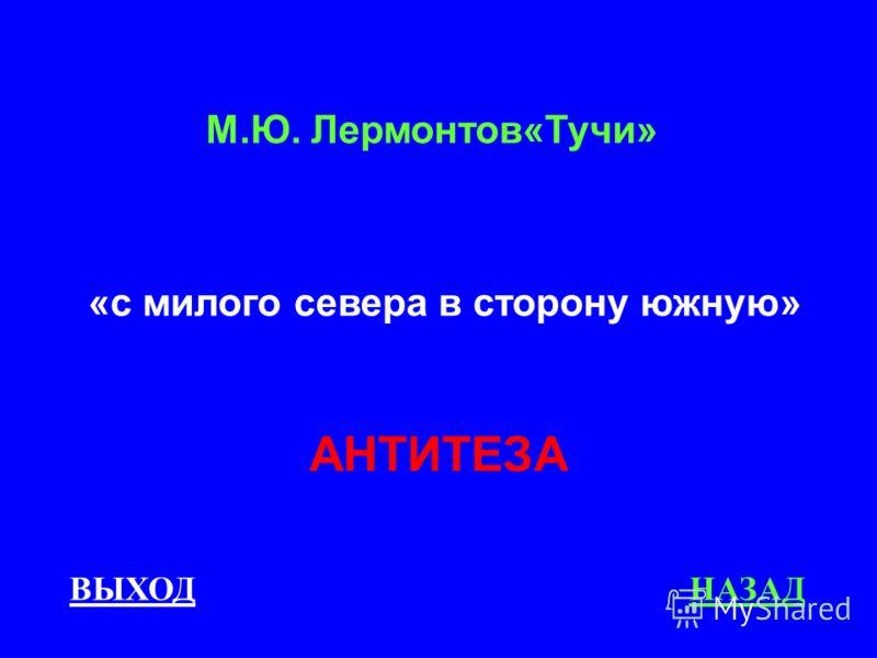 ВЫХОДНАЗАД АНТИТЕЗА М.Ю. Лермонтов«Тучи» «с милого севера в сторону южную»