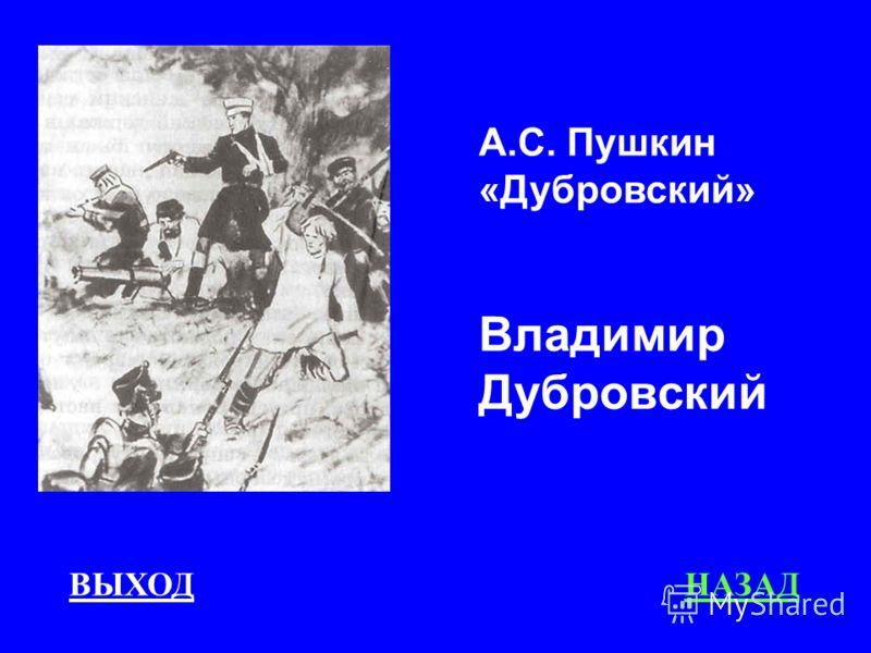 ВЫХОДНАЗАД А.С. Пушкин «Дубровский» Владимир Дубровский