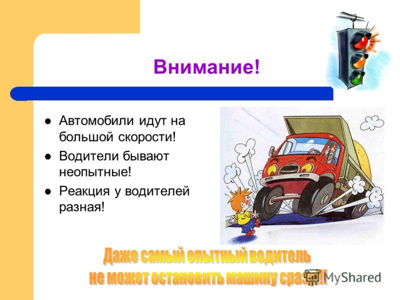 Внимание! Автомобили идут на большой скорости! Водители бывают неопытные! Реакция у водителей разная!