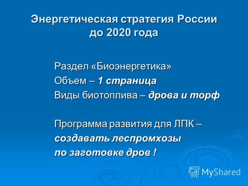 Энергетическая стратегия России до 2020 года Раздел «Биоэнергетика» Объем – 1 страница Виды биотоплива – дрова и торф Программа развития для ЛПК – создавать леспромхозы по заготовке дров !
