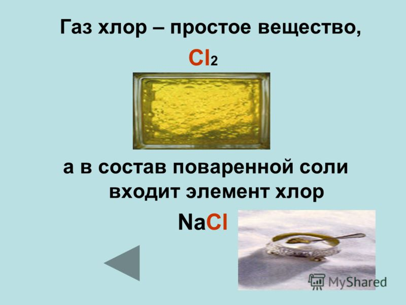 Газ хлор – простое вещество, Cl 2 а в состав поваренной соли входит элемент хлор NaCl