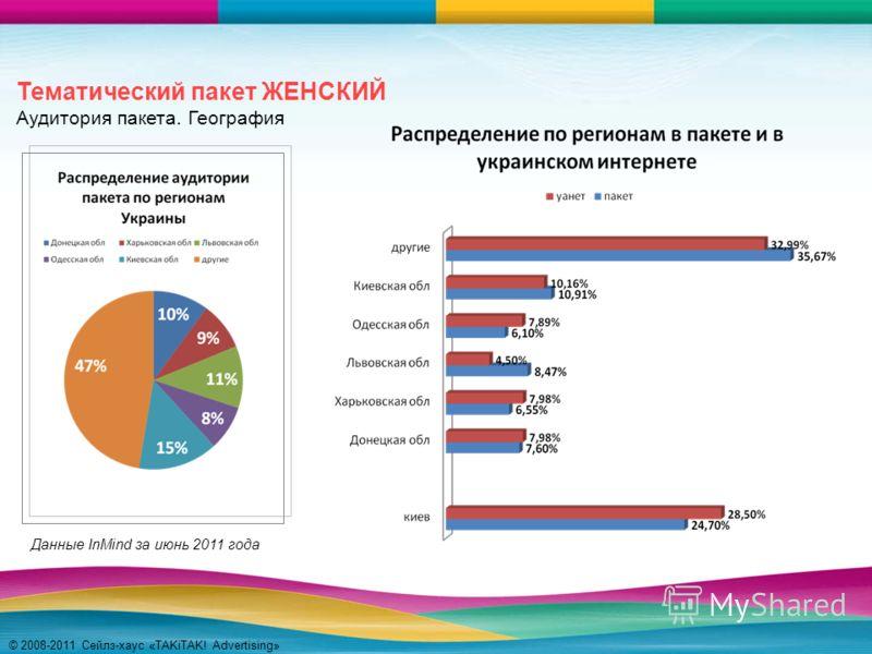 © 2008-2011 Сейлз-хаус «TAKiTAK! Advertising» Тематический пакет ЖЕНСКИЙ Аудитория пакета. География Данные InMind за июнь 2011 года
