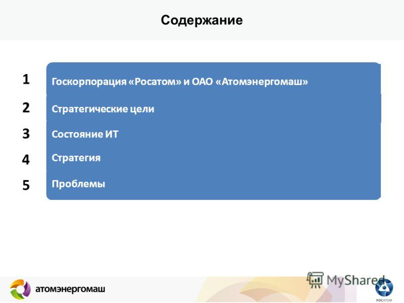 Содержание 1 2 3 Госкорпорация «Росатом» и ОАО «Атомэнергомаш» Стратегические цели Состояние ИТ 4 5 Стратегия Проблемы