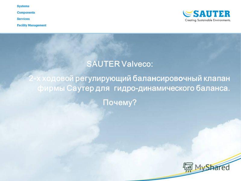 SAUTER Valveco: 2-х ходовой регулирующий бала н сиров о чный клапан фирмы Саутер для гидро-динамического баланса. Почему?