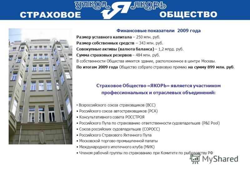 Финансовые показатели 2009 года Размер уставного капитала – 250 млн. руб. Размер собственных средств – 343 млн. руб. Совокупные активы (валюта баланса) – 1,2 млрд. руб. Сумма страховых резервов – 484 млн. руб. В собственности Общества имеется здание,