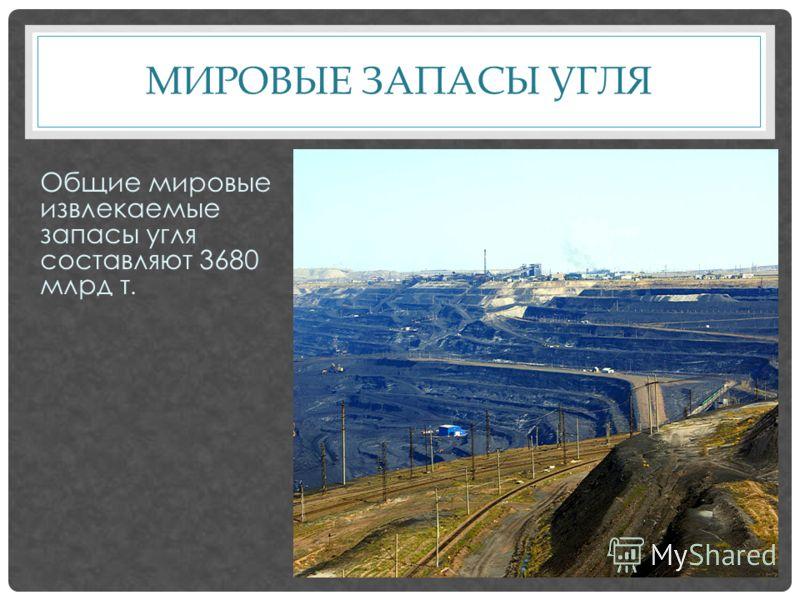 МИРОВЫЕ ЗАПАСЫ УГЛЯ Общие мировые извлекаемые запасы угля составляют 3680 млрд т.