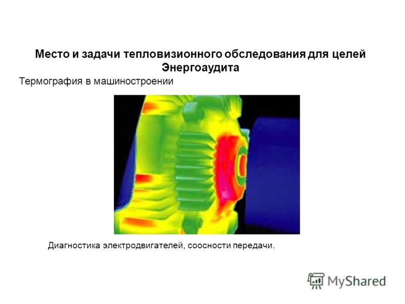 Термография в машиностроении Диагностика электродвигателей, соосности передачи. Место и задачи тепловизионного обследования для целей Энергоаудита