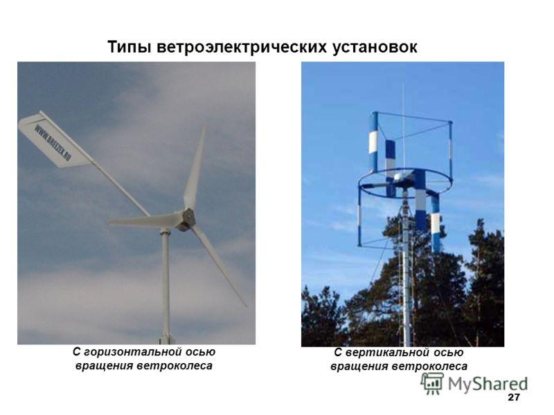 27 Типы ветроэлектрических установок С вертикальной осью вращения ветроколеса С горизонтальной осью вращения ветроколеса