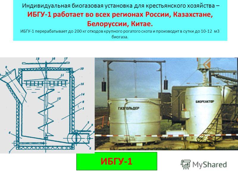 ИБГУ-1 Индивидуальная биогазовая установка для крестьянского хозяйства – ИБГУ-1 работает во всех регионах России, Казахстане, Белоруссии, Китае. ИБГУ-1 перерабатывает до 200 кг отходов крупного рогатого скота и производит в сутки до 10-12 м3 биогаза.