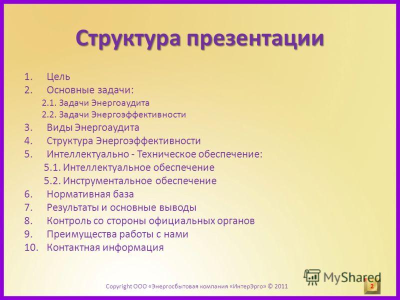 Структура презентации 1.Цель 2.Основные задачи: 2.1. Задачи Энергоаудита 2.2. Задачи Энергоэффективности 3.Виды Энергоаудита 4.Структура Энергоэффективности 5.Интеллектуально - Техническое обеспечение: 5.1. Интеллектуальное обеспечение 5.2. Инструмен