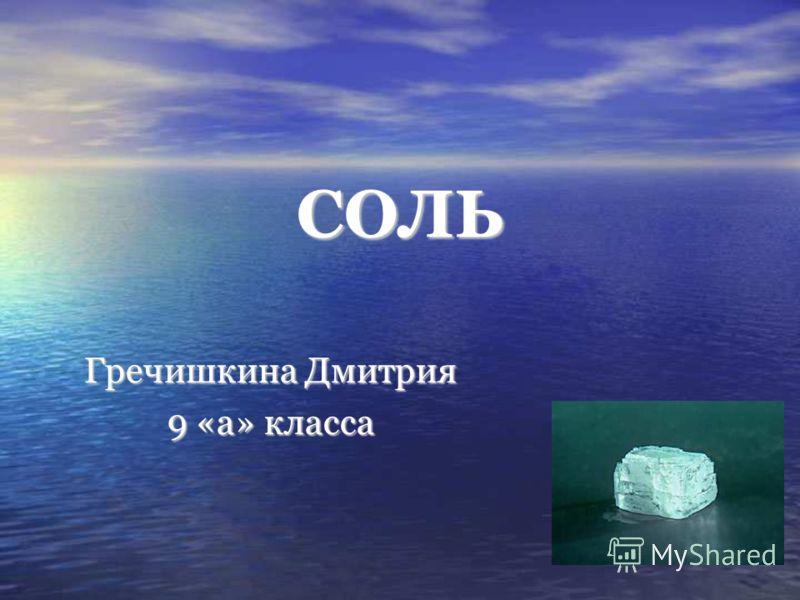 СОЛЬ Гречишкина Дмитрия 9 «а» класса