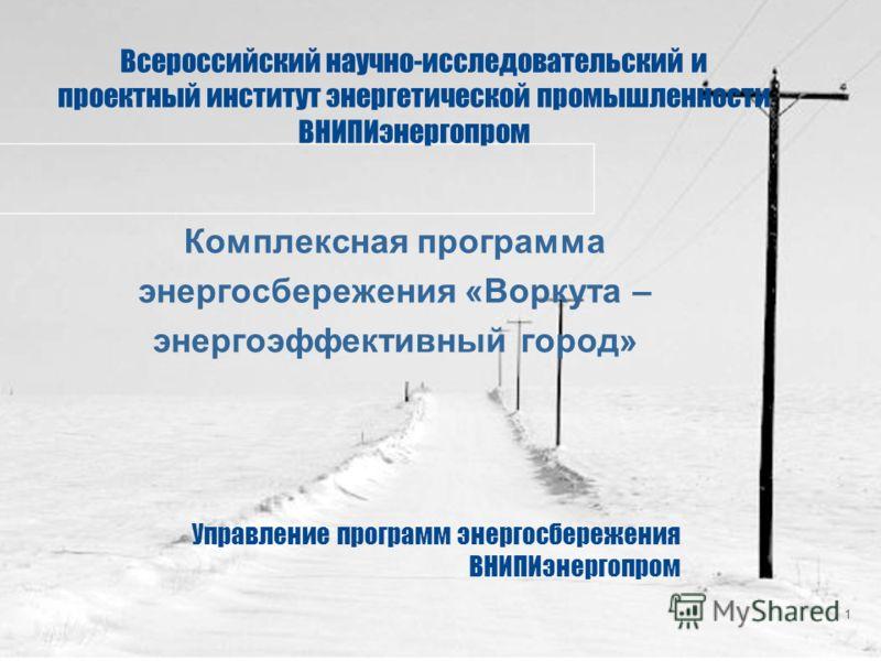 1 Всероссийский научно-исследовательский и проектный институт энергетической промышленности ВНИПИэнергопром Комплексная программа энергосбережения «Воркута – энергоэффективный город» Управление программ энергосбережения ВНИПИэнергопром