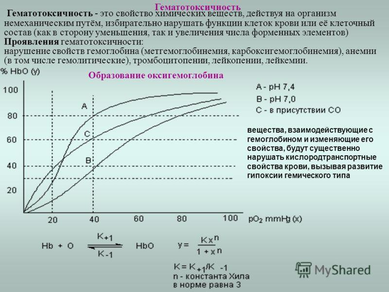 Гематотоксичность Гематотоксичность - это свойство химических веществ, действуя на организм немеханическим путём, избирательно нарушать функции клеток крови или её клеточный состав (как в сторону уменьшения, так и увеличения числа форменных элементов