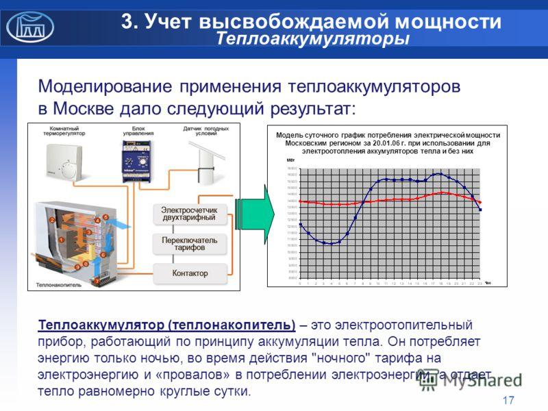 17 3. Учет высвобождаемой мощности Теплоаккумуляторы Моделирование применения теплоаккумуляторов в Москве дало следующий результат: Теплоаккумулятор (теплонакопитель) – это электроотопительный прибор, работающий по принципу аккумуляции тепла. Он потр