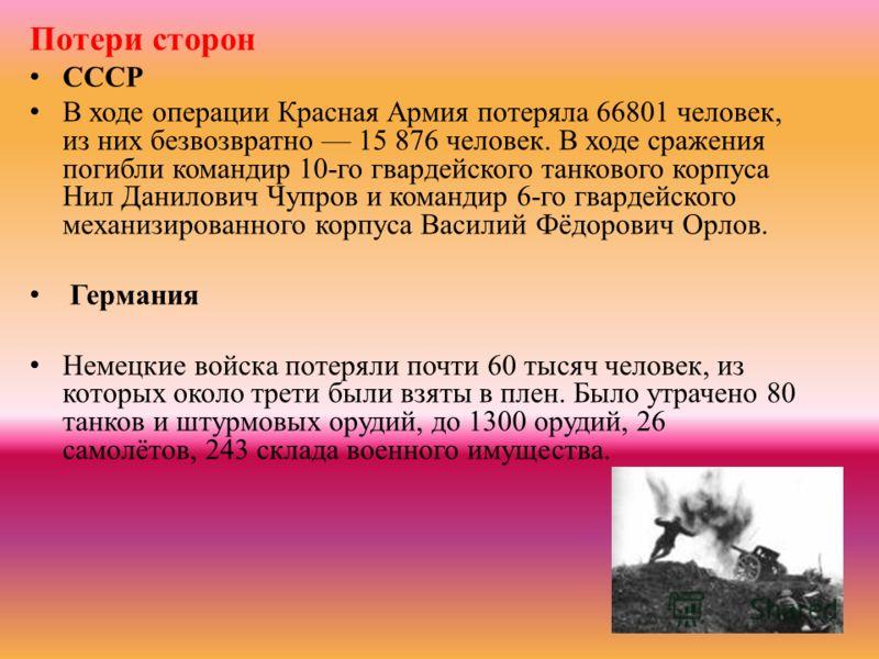 Потери сторон СССР В ходе операции Красная Армия потеряла 66801 человек, из них безвозвратно 15 876 человек. В ходе сражения погибли командир 10-го гвардейского танкового корпуса Нил Данилович Чупров и командир 6-го гвардейского механизированного кор