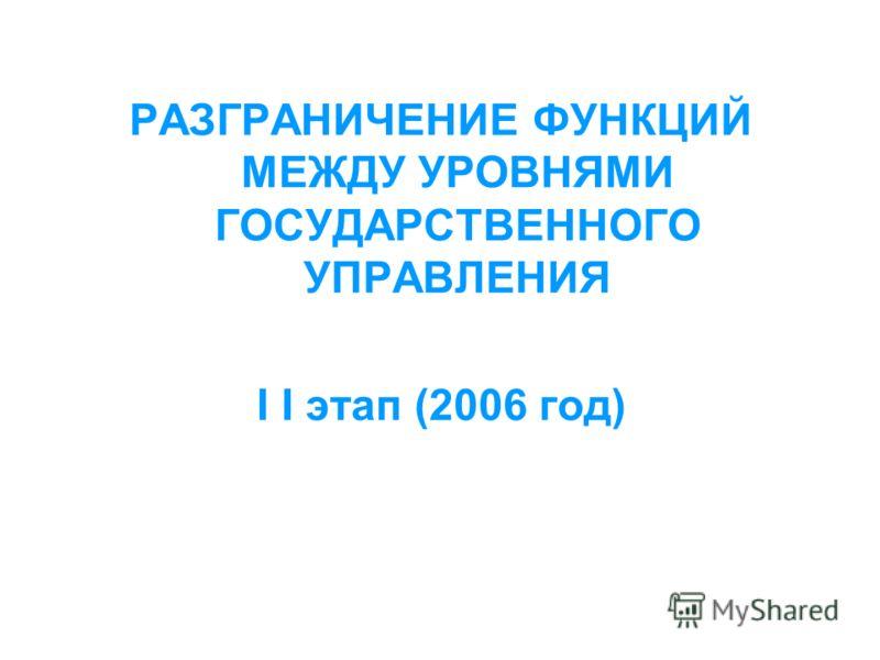 РАЗГРАНИЧЕНИЕ ФУНКЦИЙ МЕЖДУ УРОВНЯМИ ГОСУДАРСТВЕННОГО УПРАВЛЕНИЯ I I этап (2006 год)