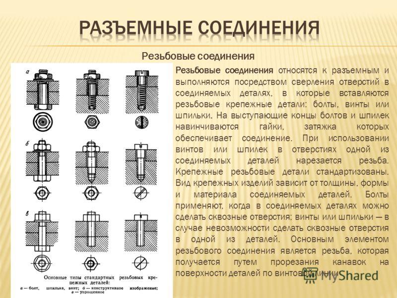 Резьбовые соединения Резьбовые соединения относятся к разъемным и выполняются посредством сверления отверстий в соединяемых деталях, в которые вставляются резьбовые крепежные детали: болты, винты или шпильки. На выступающие концы болтов и шпилек нави