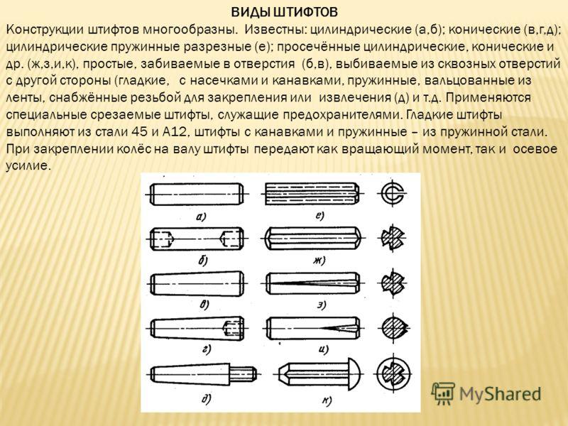 ВИДЫ ШТИФТОВ Конструкции штифтов многообразны. Известны: цилиндрические (а,б); конические (в,г,д); цилиндрические пружинные разрезные (е); просечённые цилиндрические, конические и др. (ж,з,и,к), простые, забиваемые в отверстия (б,в), выбиваемые из ск