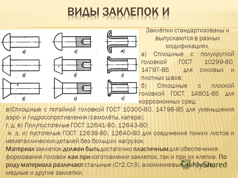 Заклёпки стандартизованы и выпускаются в разных модификациях. а) Сплошные с полукруглой головкой ГОСТ 10299-80, 14797-85 для силовых и плотных швов; б) Сплошные с плоской головкой ГОСТ 14801-85 для коррозионных сред; в)Сплошные с потайной головкой ГО