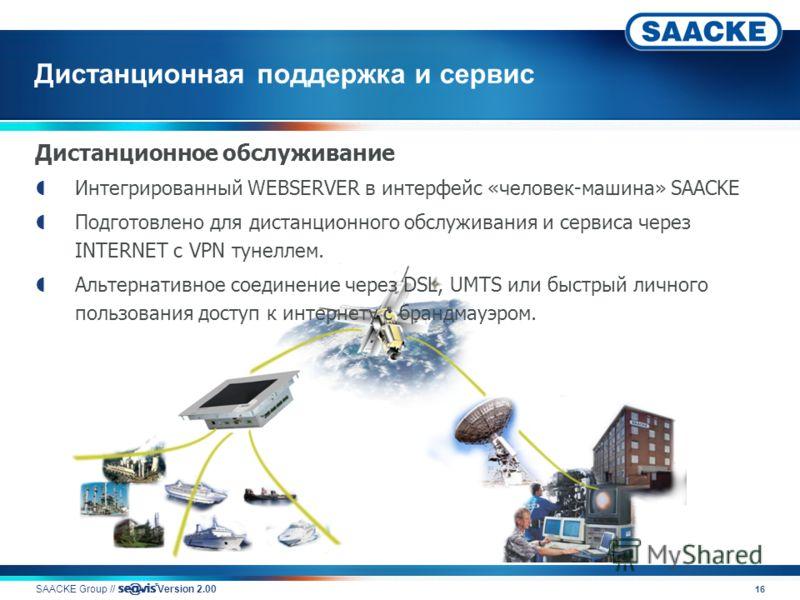 16 Дистанционная поддержка и сервис SAACKE Group // v Version 2.00 Дистанционное обслуживание Интегрированный WEBSERVER в интерфейс «человек-машина» SAACKE Подготовлено для дистанционного обслуживания и сервиса через INTERNET с VPN тунеллем. Альтерна