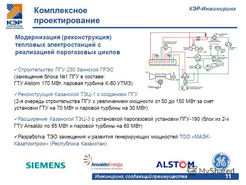 КЭР-Инжиниринг Инжиниринг, создающий преимущества 11 Модернизация (реконструкция) тепловых электростанций с реализацией парогазовых циклов Строительство ПГУ-230 Заинской ГРЭС (замещение блока 1 ПГУ в составе: ГТУ Alstom 170 МВт, паровая турбина К-80