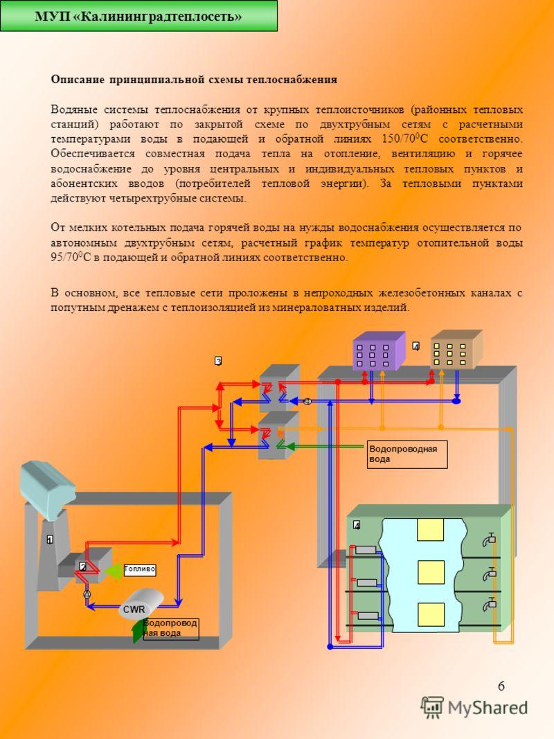 6 Описание принципиальной схемы теплоснабжения Водяные системы теплоснабжения от крупных теплоисточников (районных тепловых станций) работают по закрытой схеме по двухтрубным сетям с расчетными температурами воды в подающей и обратной линиях 150/70 0