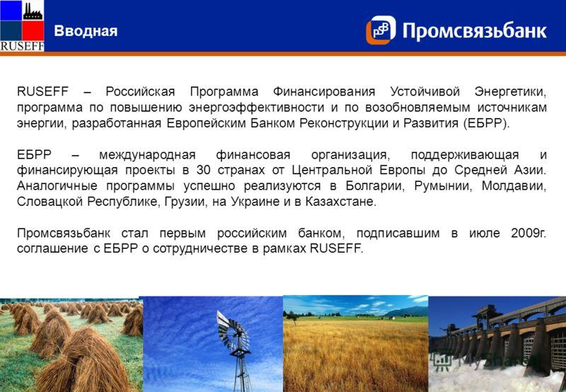 Слайд 2 Вводная RUSEFF – Российская Программа Финансирования Устойчивой Энергетики, программа по повышению энергоэффективности и по возобновляемым источникам энергии, разработанная Европейским Банком Реконструкции и Развития (ЕБРР). ЕБРР – международ