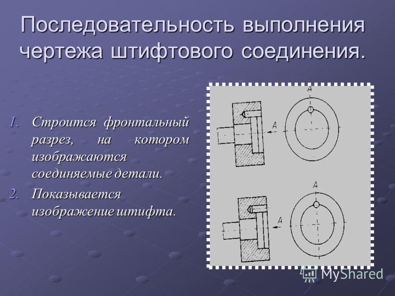 Последовательность выполнения чертежа штифтового соединения. 1.Строится фронтальный разрез, на котором изображаются соединяемые детали. 2.Показывается изображение штифта.