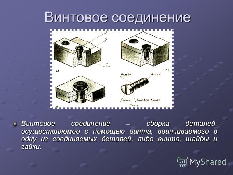 Винтовое соединение Винтовое соединение – сборка деталей, осуществляемое с помощью винта, ввинчиваемого в одну из соединяемых деталей, либо винта, шайбы и гайки.