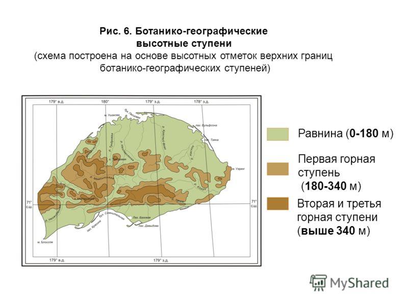 Рис. 6. Ботанико-географические высотные ступени (схема построена на основе высотных отметок верхних границ ботанико-географических ступеней) Равнина (0-180 м) Первая горная ступень (180-340 м) Вторая и третья горная ступени (выше 340 м)