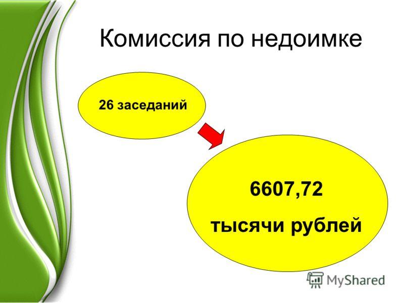 Комиссия по недоимке 26 заседаний 6607,72 тысячи рублей