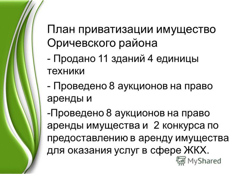 План приватизации имущество Оричевского района - Продано 11 зданий 4 единицы техники - Проведено 8 аукционов на право аренды и -Проведено 8 аукционов на право аренды имущества и 2 конкурса по предоставлению в аренду имущества для оказания услуг в сфе