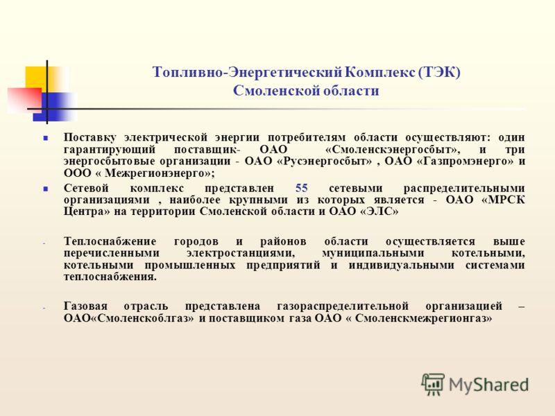 Топливно-Энергетический Комплекс (ТЭК) Смоленской области Поставку электрической энергии потребителям области осуществляют: один гарантирующий поставщик- ОАО «Смоленскэнергосбыт», и три энергосбытовые организации - ОАО «Русэнергосбыт», ОАО «Газпромэн