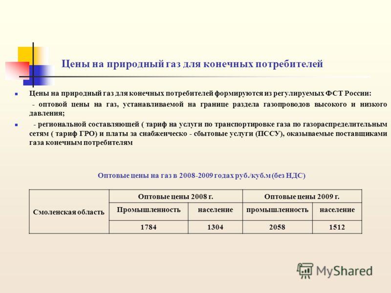 Цены на природный газ для конечных потребителей Цены на природный газ для конечных потребителей формируются из регулируемых ФСТ России: - оптовой цены на газ, устанавливаемой на границе раздела газопроводов высокого и низкого давления; - региональной