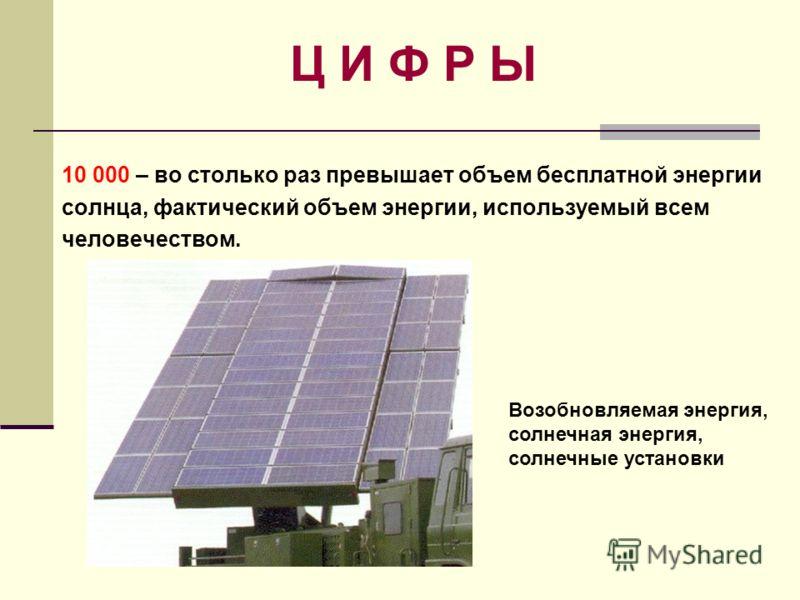 Ц И Ф Р Ы 10 000 – во столько раз превышает объем бесплатной энергии солнца, фактический объем энергии, используемый всем человечеством. Возобновляемая энергия, солнечная энергия, солнечные установки