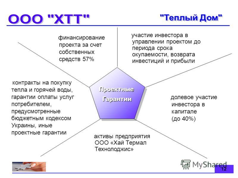 12 ПроектныеГарантииПроектныеГарантии контракты на покупку тепла и горячей воды, гарантии оплаты услуг потребителем, предусмотренные бюджетным кодексом Украины, иные проектные гарантии финансирование проекта за счет собственных средств 57% участие ин