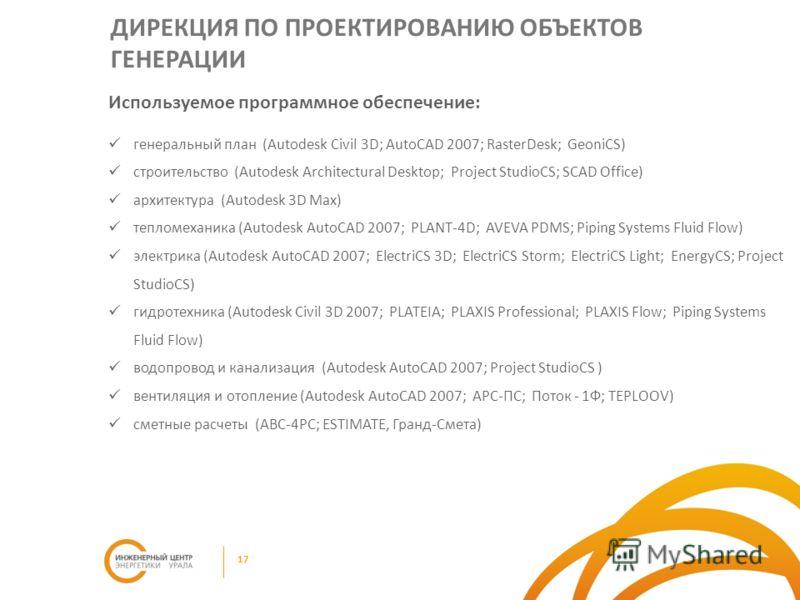 Используемое программное обеспечение: генеральный план (Autodesk Civil 3D; AutoCAD 2007; RasterDesk; GeoniCS) строительство (Autodesk Architectural Desktop; Project StudioCS; SCAD Office) архитектура (Autodesk 3D Max) тепломеханика (Autodesk AutoCAD