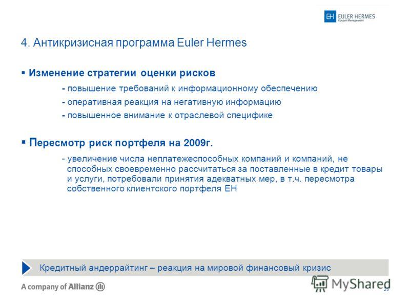 28 Кредитный андеррайтинг – реакция на мировой финансовый кризис 4. Антикризисная программа Euler Hermes Изменение стратегии оценки рисков - повышение требований к информационному обеспечению - оперативная реакция на негативную информацию - повышенно