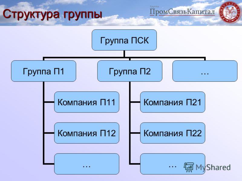 Структура группы Группа ПСК Группа П1 Компания П11 Компания П12 … Группа П2 Компания П21 Компания П22 … …