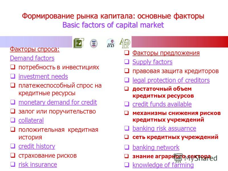 Формирование рынка капитала: основные факторы Basic factors of capital market Факторы спроса: Demand factors потребность в инвестициях investment needs платежеспособный спрос на кредитные ресурсы monetary demand for credit залог или поручительство co