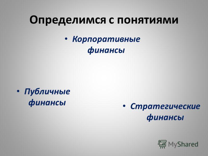 Определимся с понятиями Корпоративные финансы Стратегические финансы Публичные финансы