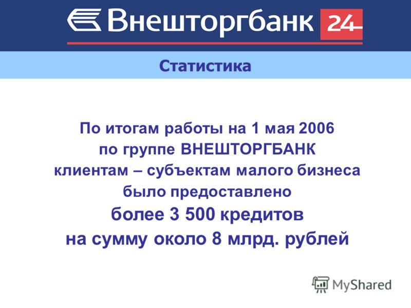 Статистика По итогам работы на 1 мая 2006 по группе ВНЕШТОРГБАНК клиентам – субъектам малого бизнеса было предоставлено более 3 500 кредитов на сумму около 8 млрд. рублей