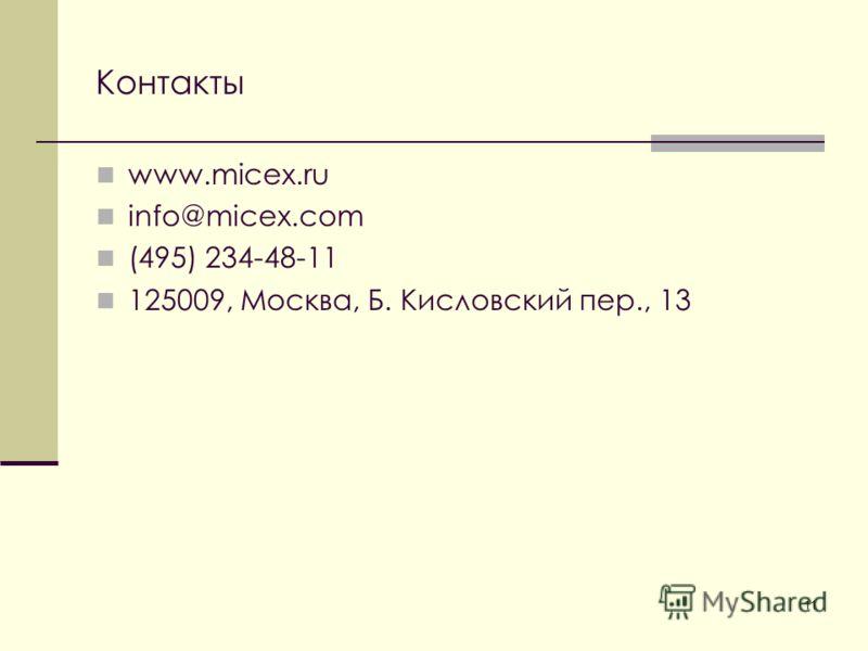 11 Контакты www.micex.ru info@micex.com (495) 234-48-11 125009, Москва, Б. Кисловский пер., 13